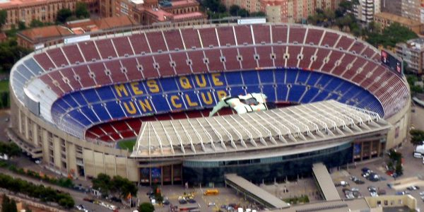 By Oh Barcelona.com from Barcelona Spain The Camp Nou Stadium Barcelona 600x300 - 11 Famous Football Stadiums: Which is the biggest? The most modern? The most impressive? The strangest?