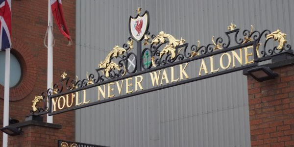 anfield football stadium youll never walk alone 600x300 - 11 Famous Football Stadiums: Which is the biggest? The most modern? The most impressive? The strangest?