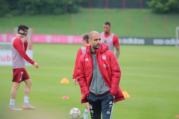 Guardiola looks football training drills