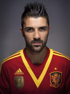 the striker of spain national footbal team David Villa - Spain National Football Team Best XI