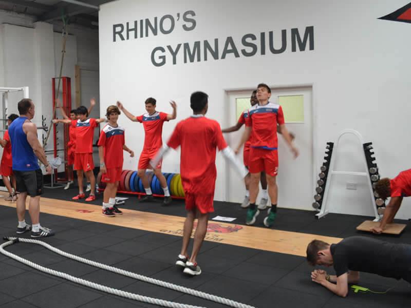 Training in Rhino Gym at High Performance Football Academy England - English High-performance Intensive Winter Soccer Programs | Ertheo