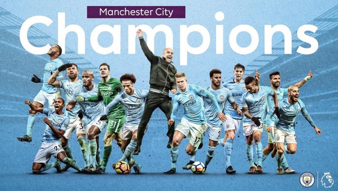 Imagen del Manchester City campeón de la Premier 2017 2018 - Congratulations champions!