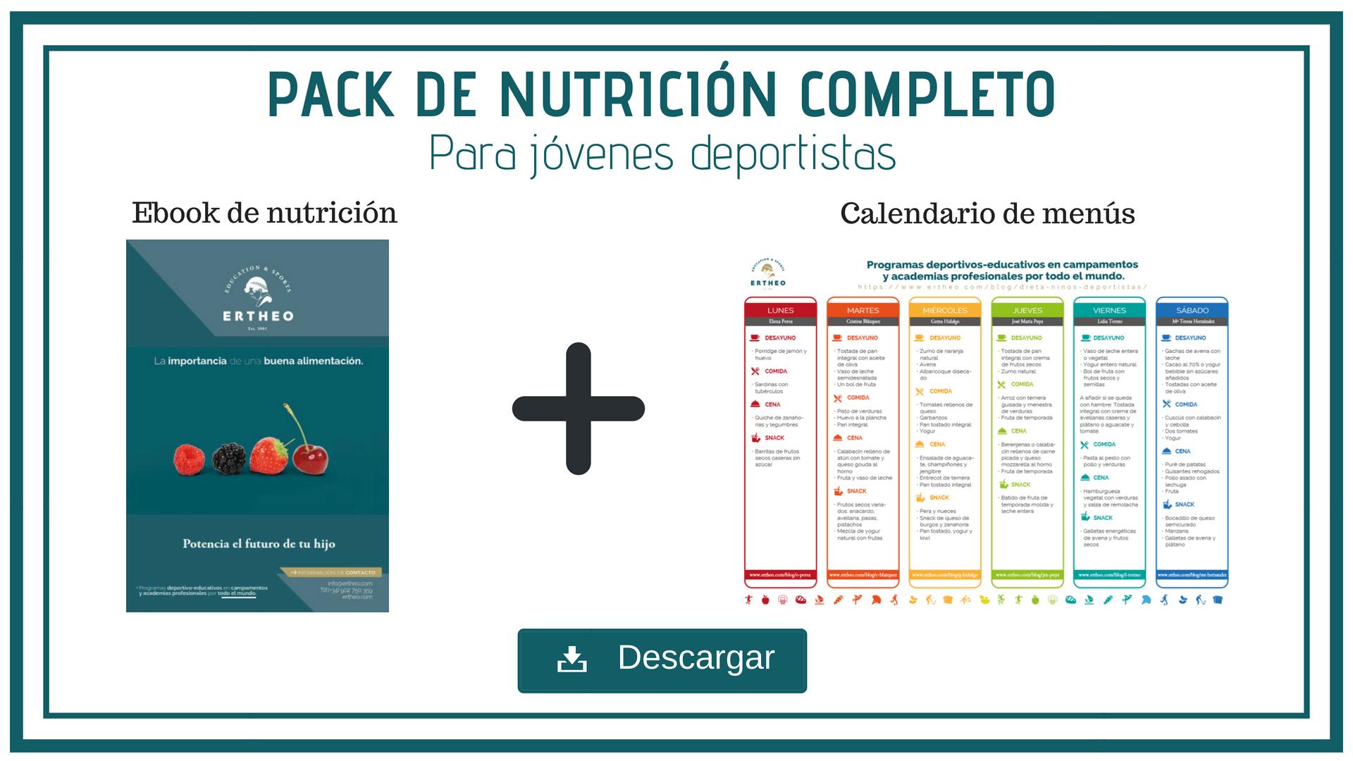 Pack de nutrición completo 1 - ¿Tienes dificultades para hacer una dieta para niños deportistas? - Descubre este plan mensual de comidas gratis