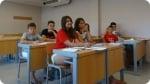 Language classes at . Left picture