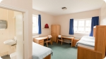 A closer look at the accommodation at . Left photo